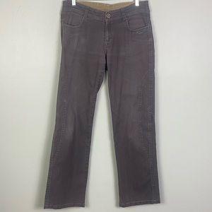 EUC-KUHL- Distressed straight leg pants in grey.